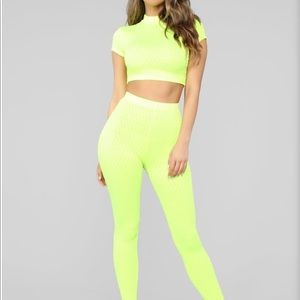 Fashionnova Neon Yellow PantSet